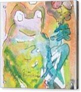 Frog With Fresh Flowers Acrylic Print