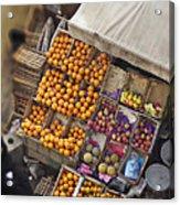 Fruit Vendor In The Kahn Acrylic Print by Mary Machare