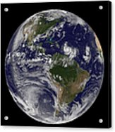 Full Earth Showing Two Tropical Storms Acrylic Print