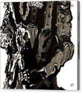 Full Length Figure Portrait Of Swat Team Leader Alpha Chicago Police In Full Uniform With War Gun Acrylic Print by M Zimmerman MendyZ