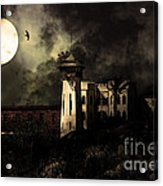 Full Moon Over Hard Time - San Quentin California State Prison - 7d18546 - Partial Sepia Acrylic Print