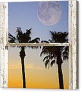 Full Moon Palm Tree Picture Window Sunset Acrylic Print