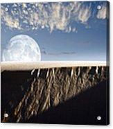 Full Moon Rising Above A Sand Dune Acrylic Print