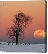Full Moon Rising Near Graveyard Acrylic Print