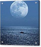Full Moon Rising Over The Sea Acrylic Print by Detlev Van Ravenswaay