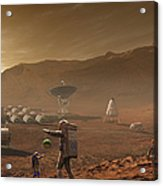 Future Mars Colonists Playing Acrylic Print