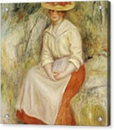 Gabrielle In A Straw Hat Acrylic Print by Pierre Auguste Renoir