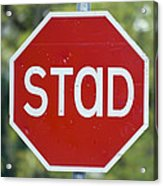 Gaelic Stop Sign Near Doocharry Acrylic Print by Rich Reid