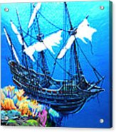 Galleon On The Cliff Filtered Acrylic Print