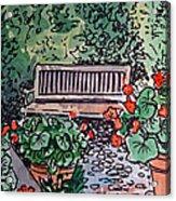 Garden Bench Sketchbook Project Down My Street Acrylic Print by Irina Sztukowski