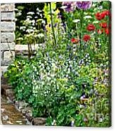 Garden Flowers With Stream Acrylic Print
