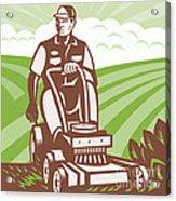Gardener Landscaper Riding Lawn Mower Retro Acrylic Print
