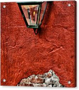 Gaslight On A Red Wall Acrylic Print