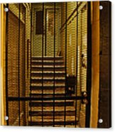 Gated Stairwell At Night Acrylic Print