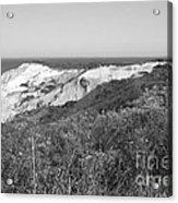 Gay Head Lighthouse With Aquinna Beach Cliffs - Black And White Acrylic Print