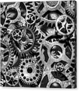 Gears Of Time Black And White Acrylic Print