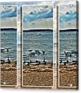 Geese Point Landing Triptych Acrylic Print