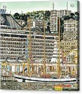 Genova Cruising And Sailing Ships And Buildings Landscape Acrylic Print
