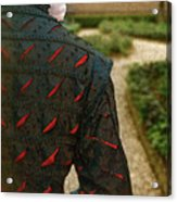 Gentleman In 16th Century Clothing On Garden Path Acrylic Print