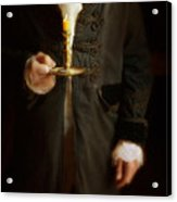 Gentleman In Vintage Clothing Holding A Candlestick Acrylic Print