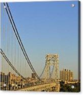George Washington Bridge And Boat Acrylic Print