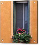 Geraniums In A Yellow Window In Treviso Italy Acrylic Print