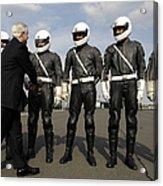 German Motorcycle Police Shake Hands Acrylic Print by Stocktrek Images