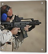 German Police, Isaf Member Fires A G36k Acrylic Print