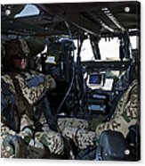 German Soldiers Seated In A Uh-60l Acrylic Print