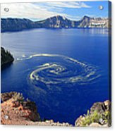 Giant Swirl Of Pollen At Crater Lake National Park  Acrylic Print