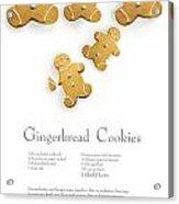 Gingerbread Men Cookies Against Cookie Receipe Acrylic Print by Sandra Cunningham