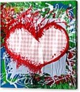 Gingham Crazy Heart Acrylic Print