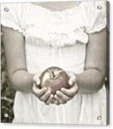 Girl And Apple Acrylic Print