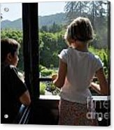 Girl And Boy Looking Out Of Train Window Acrylic Print