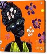 Girl And Flowers Acrylic Print