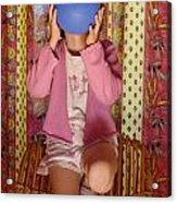 Girl Blowing Up Balloon Acrylic Print