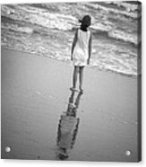 Girl By Ocean Acrylic Print