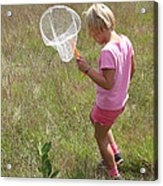 Girl Collecting Insects In A Meadow Acrylic Print by Ted Kinsman