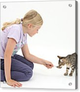 Girl Feeding Kitten From A Spoon Acrylic Print by Mark Taylor