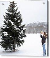 Girl Measuring Tree Height Acrylic Print