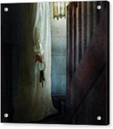 Girl On Stairs With Lantern And Keys Acrylic Print