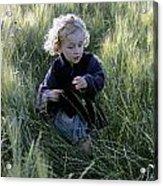 Girl Running In Wheat Field Acrylic Print by Sami Sarkis