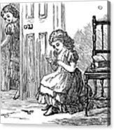 Girl Sewing, 1873 Acrylic Print