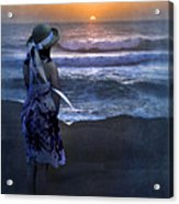 Girl Watching The Sun Go Down At The Ocean Acrylic Print