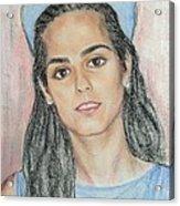 Girl With A Blue Cap Acrylic Print