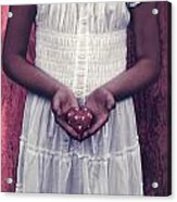 Girl With A Heart Acrylic Print