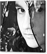 Girl With A Rose Veil 3 Bw Acrylic Print