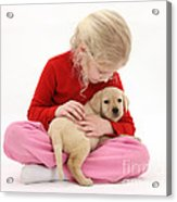 Girl With Puppy Acrylic Print by Mark Taylor