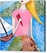 Girl With The White Boat Acrylic Print