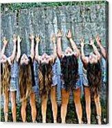 Girls And Long Hair Acrylic Print by Jenny Senra Pampin
